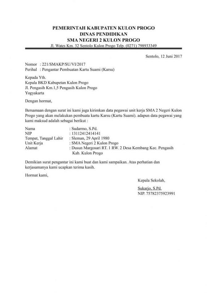 Contoh Surat Pengantar Dinas