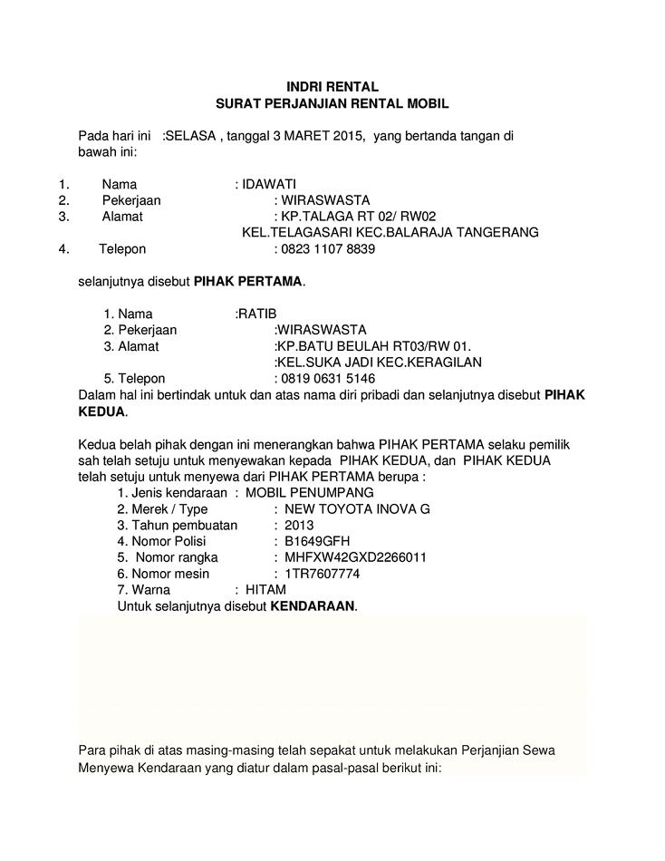 Contoh Surat Perjanjian Sewa Mobil