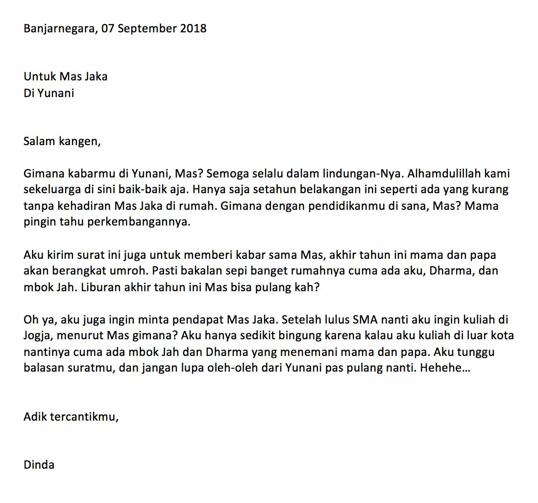 Contoh Surat Pribadi untuk Kakak