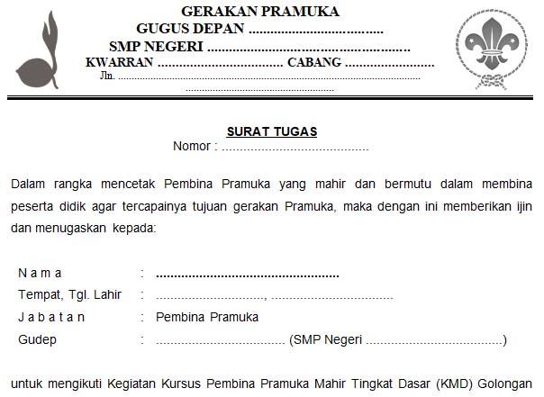Contoh Surat Tugas Pramuka