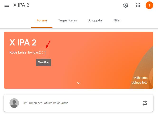 Mengundang Google Classroom menggunakan kode kelas