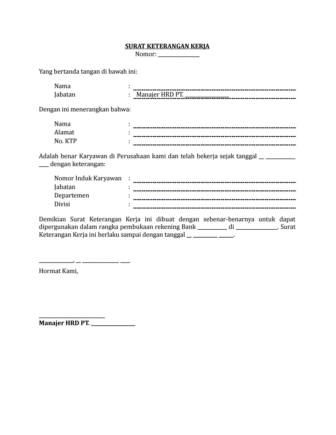 Surat Keterangan Kerja Untuk Buka Rekening Bank