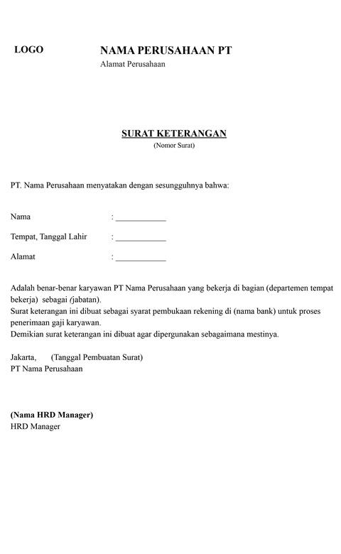 Surat Keterangan Kerja dari Perusahaan