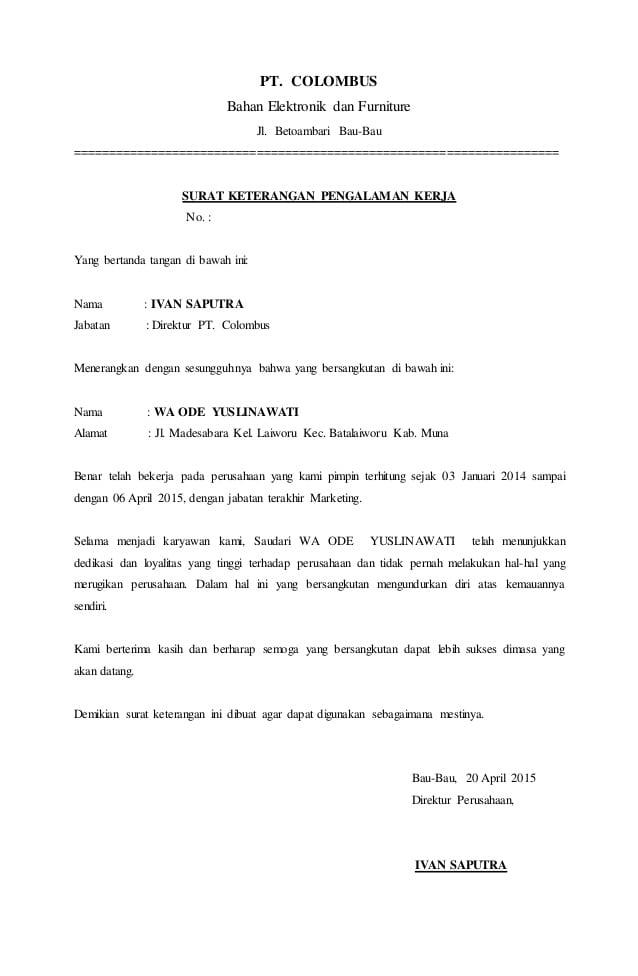 Surat Keterangan untuk Kerja