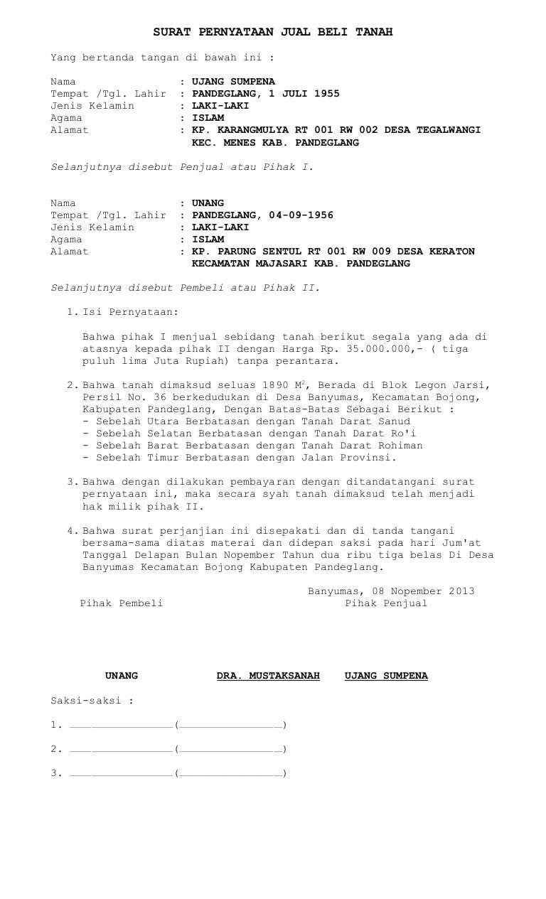 Surat Pernyataan Perjanjian Jual Beli Tanah