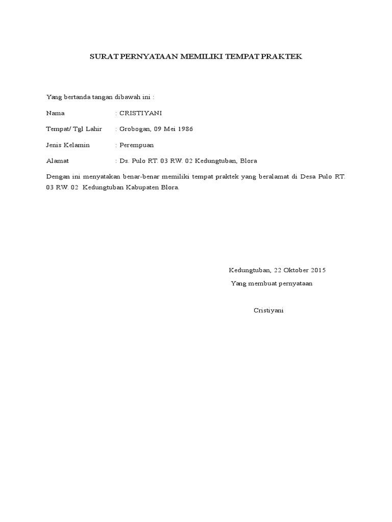 Surat Pernyataan Praktik Umum
