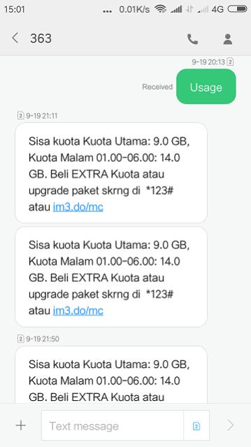 Cek Kuota Indosat via SMS