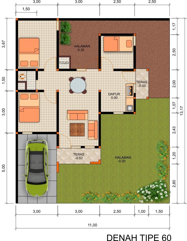 Contoh Rumah Type 60