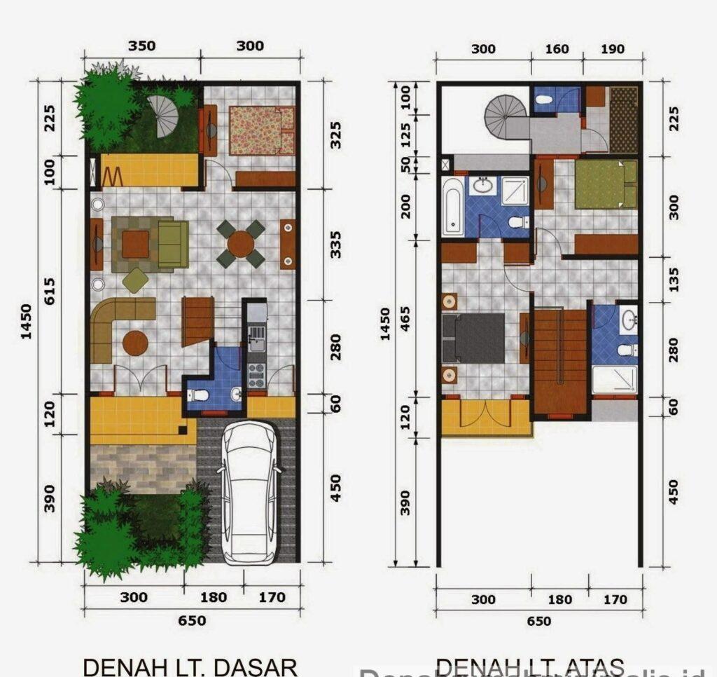 Denah Rumah Minimalis 2 Lantai Tipe 21