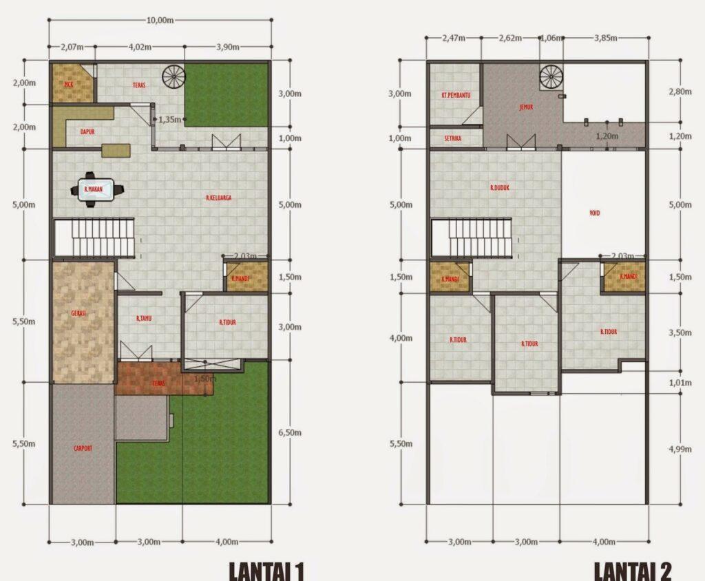 Denah Rumah Sederhana Tapi Mewah 2 Lantai