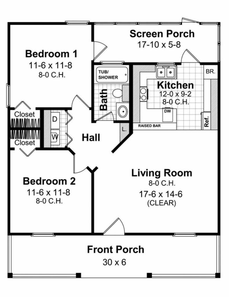 Denah Rumah Simple 2 Kamar