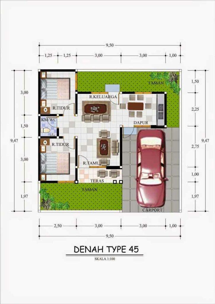 Denah Rumah Type 45 2 Kamar Tidur