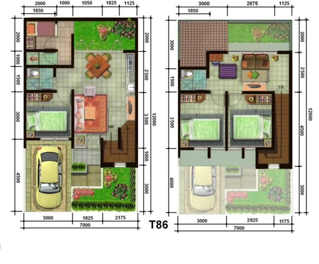 Denah Rumah Type 60 Dua Lantai