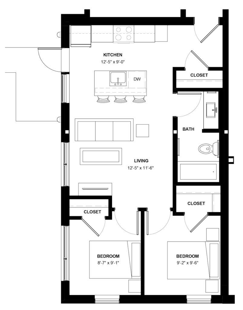 Desain Denah Rumah Minimalis 2 Kamar Tidur