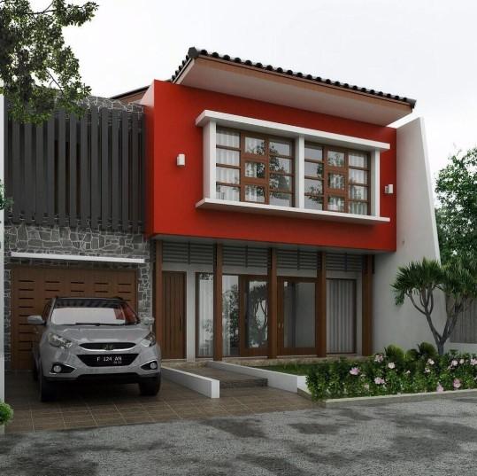 Desain Rumah 2 Lantai Minimalis 6x12 Tampak Depan