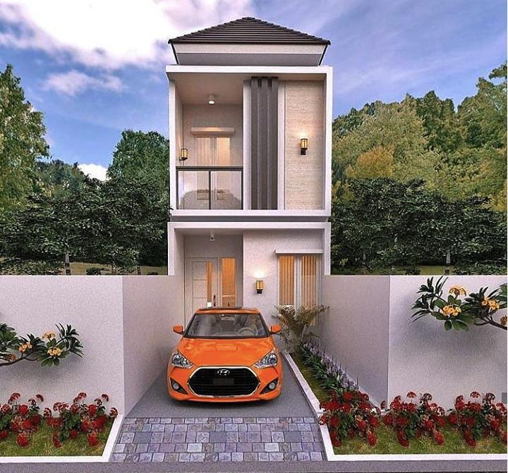 Desain Rumah Lahan Sempit Memanjang 2 Lantai