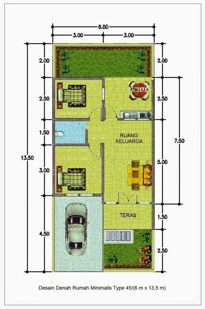 Sketsa Denah Rumah Type 45